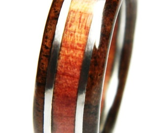 Striking Black Walnut and Red Cedar Wood Wedding Band, Engagement, Ring, Wood Jewelry, Wedding, Wedding Band, Alternative Engagement Ring,