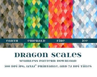 "Dragon scales Digital Paper 12x12"" scrapbooking paper"