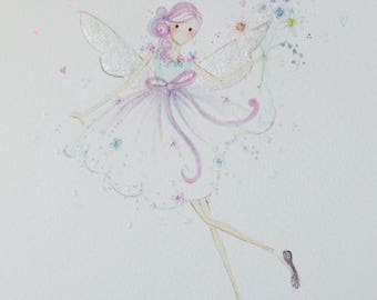 Lolli and Shell Giclee pink flower fairy print 5x7