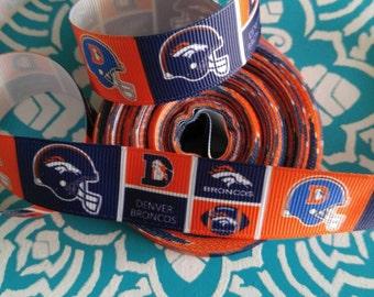 Broncos Ribbon, Football Ribbon, Grosgrain Ribbon, Bow Making Ribbon, Crafting Ribbon