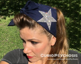 Dallas Cowboys Football Team Spirit Hair Accessories Vintage Style Rockabilly Navy Blue Silver Bling Scarf Head Wrap Texas Lone Star Silver