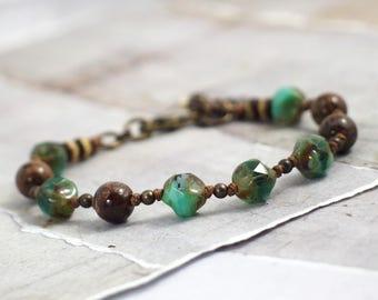 Jasper bracelet Czech glass bracelet Turquoise bracelet Brown stone jewelry Boho jewelry Chunky bracelet Cowgirl jewelry Green bracelet
