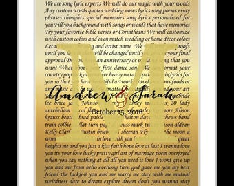 Romantic gifts for her, wedding gift, bride groom, husband wife, anniversary gift, wedding promises, first dance, vows, song lyric art print