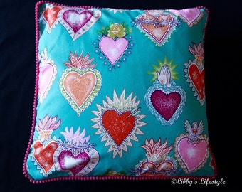 Mexican milagro cushion cover. Handmade.