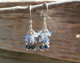Cascade crystal earrings, handmade jewelry, Swarovski crystal, ombre effect, shades of blue, customizable