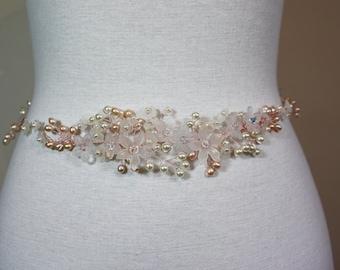 Blush beaded bridal belt, flower wedding belt, blush flower sash, pearl flower wedding belt, wedding dress sash