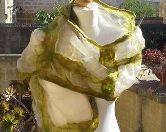 Silk organza and merino wool nuno felt  scarf
