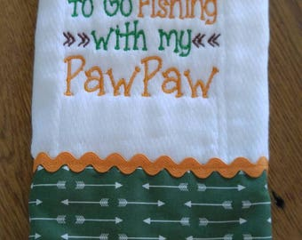 Embroidered Burp Cloth, Baby Shower Gift, New baby gift, PawPaw baby burp cloth