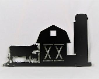 Farmhouse Mailbox Topper, Metal Barn Mailbox Top, Barn and Cow Sign, Barn Mailbox Topper, Metal Mailbox, Farm Mailbox Topper, Cow Mailbox