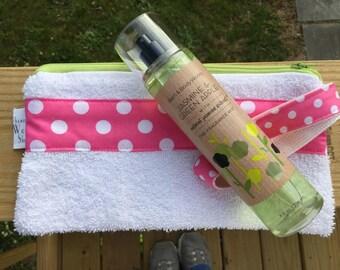 Travel Toiletries Pouch, Towel Zipper Pouch, Beach Bag, Summer Cosmetic Case, Swim Team Bag, Poolside Zipper Bag