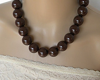 Brown necklace, big chunky jewelry, classic necklace, statement necklace for women, bold necklace set for her, simple modern necklace