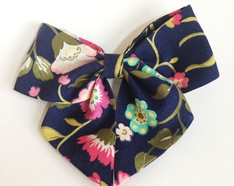 Navy floral sailor bow
