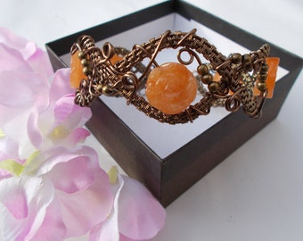 Agate bracelet , wire wrapped bracelet , wire wrapped jewelry , wire jewelry , flower jewelry , agate jewelry , gemstone jewelry , orange