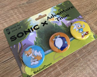 Sonic x Adventure Time Button Badge Set