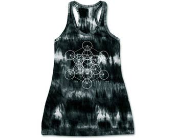 Metatron's Cube Tank Dress Racerback Sacred Geometry Tie Dye  Dress Hippie Bohemian metatrons Dress  Screen Print 100% Cotton Free Size