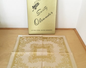 Vintage Damask Linen Napkins / Surety Damask Gold Flower Design Napkins / Table Linens New with Box / Hand Hemmed Napkins Set of Six / Japan