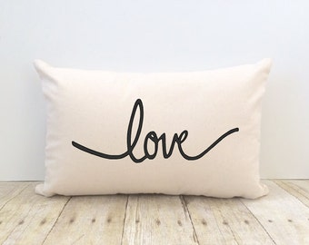 Love Pillow Cover, Bride, Wedding, Anniversary, New Home, Housewarming, Decorative. Valentine