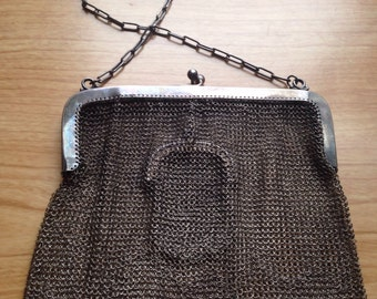 Vintage G Silver Mesh Chain Mail Evening Purse Bag Clutch