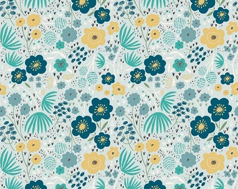 1 Yard Ava Rose by Deena Rutter for Riley Blake Designs-  5872 Blue Floral
