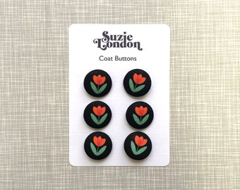 Folky Dokey Red Tulip Coat or Cardigan buttons by Suzie London