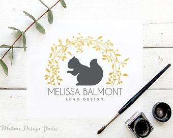 Pre-Made Logo, Logo and Branding for your Business, Gold floral Wreath Logo, Squirrel Logo Design (A41.Logo)