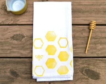 Honeycomb Tea Towel, Flour Sack Towel, Handprinted, Housewarming Gift, Hostess Gift, Kitchen Decor, Kitchen Towel, Cotton Towel