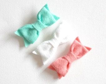 Felt Bow Hair Clips - Aqua, Coral and White