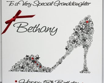 Handmade Personalised 18th Birthday Card. Black Shoe. Curly design. Daughter, Granddaughter, Niece, Sister, Special Friend, Mum, Mummy, Aunt