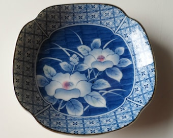 Attractive Quality Blue Pattern Flowers Backstamped Pin / Change Dish / Trinket