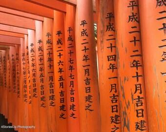 Vermilion Torii Gates Kyoto Japan Digital Photography Download Fushimi Inari Shrine Japanese Text Red Orange Posts