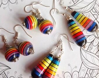 Ceramic Earrings Ceramic Beads Peruvian Earrings Peruvian Beads Silver Wire Earrings Handmade Earrings Rainbow Earrings Rainbow Beads