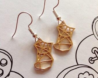Origami Fox Gold Fox Origami Earrings Fox Earrings Japanese Origami Fox Jewellery Origami Jewellery Fox Design Animal Origami