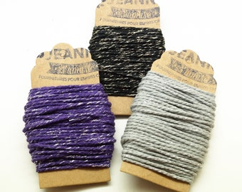 Kit 3 coupons cotton strings baker's twine, purple, gray, black and metallic thread, 3 x 10 m