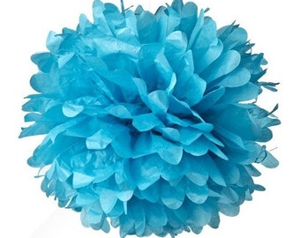 1 pompon flower sky blue paper, 10 cm for celebration