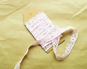 1 meter of elastic pink lace tape, 1.4 cm wide headband