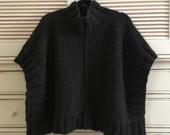 Cowl Neck Knit Poncho (Made to Order)