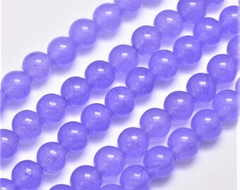 8mm Violet Jade Purple Stone Beads 48 Pieces 8mm Round 8mm Rounds 15 Inch Strand 1mm hole Translucent Jade Jewelry