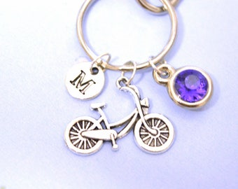 Bicycle Charm Keyring, Hand Stamped Keyring, Bike Keyring, Cyclist Gift, Cyclist Keyring, Silver keychain keyfob, Initial gift, Gift for him