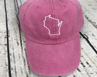 Wisconsin hat, State of Wisconsin baseball hat, Wisconsin baseball cap, Pigment dyed hat, State outline hat, Gameday hat, State outline