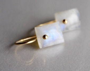 Gold Rainbow Moonstone Earrings, 14k Gold Filled or 14k Solid Gold Moonstone Earrings Rectangular