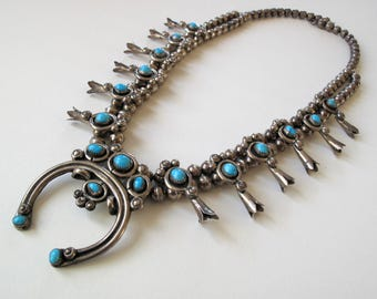 Vintage Navajo Silver Turquoise Sterling Silver Squash Blossom Necklace Alfred Long Navajo
