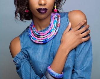 Vibrant Pink & Blue Ankara Bib Necklace - African Necklace - African Bib Necklace - African Print Necklace