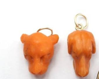 RESERVED for BH-Early Victorian Carved Orange Coral Dog Heads with 14k Gold Fittings (one head per listing)