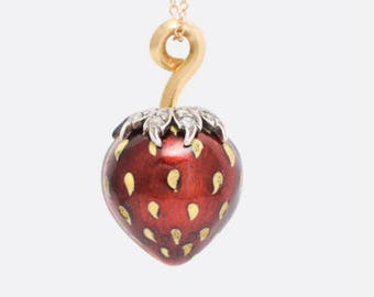 RESERVED for Hillary -Late 1800s French Enamel 18k Gold Strawberry Locket with Rose Cut Diamonds