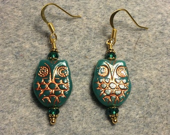Teal with copper wash Czech glass owl bead earrings adorned with teal Chinese crystal beads.