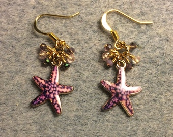 Purple and pink enamel starfish charm earrings adorned with tiny dangling purple and pink Chinese crystal beads.