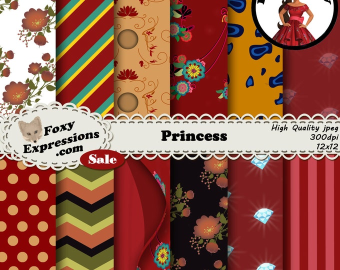Princess digital paper pack inspired by Princess Elena of Avalor. Designs include dress pattern, guitar, flowers, Jaquin pattern, & more