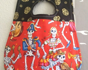 "Bib for baby or toddler, Gender neutral,  Alexander Henry fabric, ""Fiesta de los Muertos"", Folklorico, One of a kind, Ready to ship!"