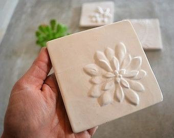 "Handmade tile with botanical 3D shape ""Succulent """