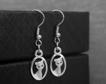 Silver Cat Earrings -Kitten Earrings -Pet Lovers Gift -Dangle Earrings -Gift For Her